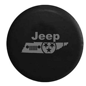 Black and Gray Jeep Grille Tennessee State Tire Cover