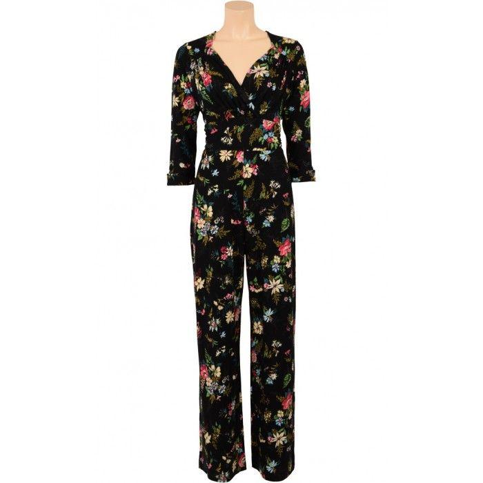 73fe715f46eea7 King Louie by Very Cherry - Delilah Jumpsuit Secret Garden Black - New
