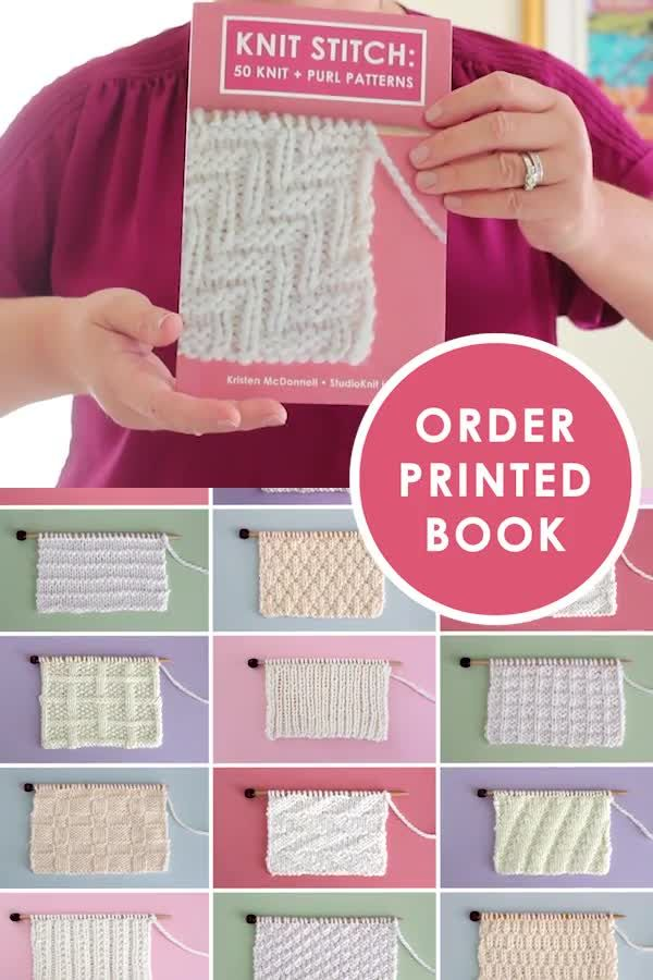 Photo of Knit Stitch Book: 50 Knit + Purl Patterns by YouTuber Studio Knit