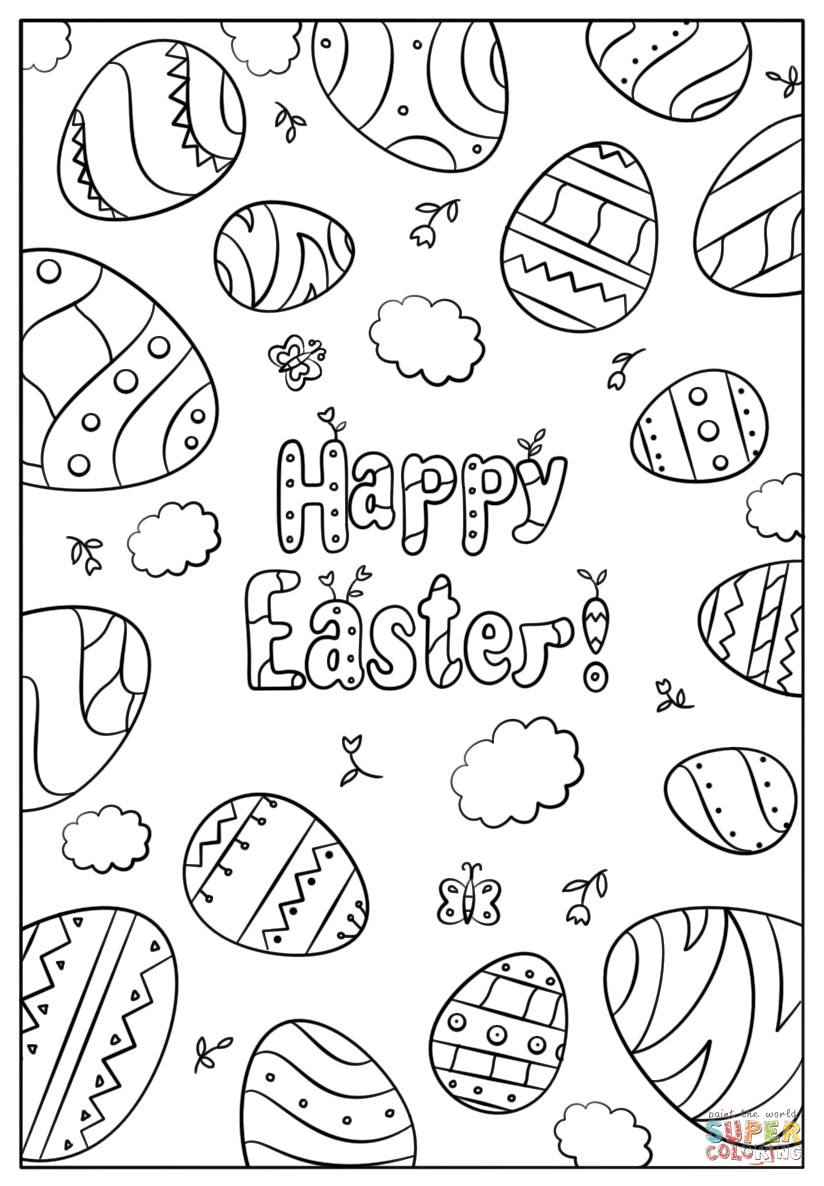 Happy Easter Doodle Super Coloring Free Printable Coloring Pages Easter Coloring Pictures Coloring Pages