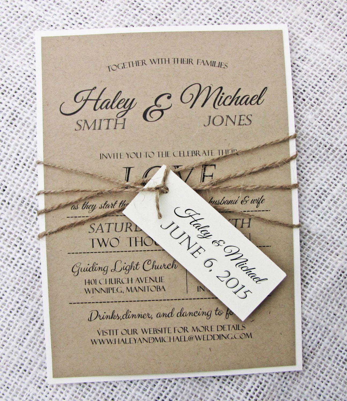 Rustic Wedding Invitation, Diy Printable, Modern, Rustic Wedding ...