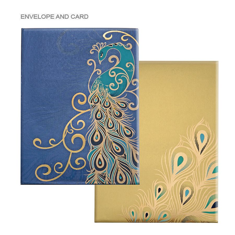Indian Wedding Invitation Design: Modish Golden Blue Feather Personalize