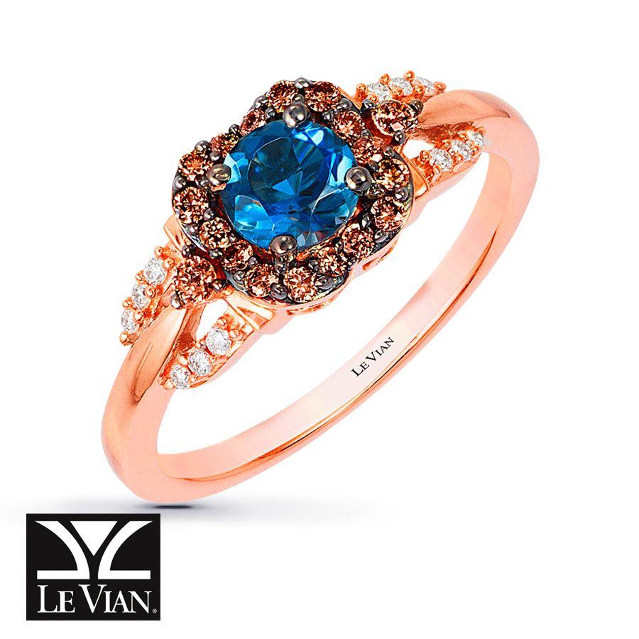 Le Vian Blue Topaz Ring 1/3 ct tw Diamonds 14K Strawberry Gold P7WiKrC