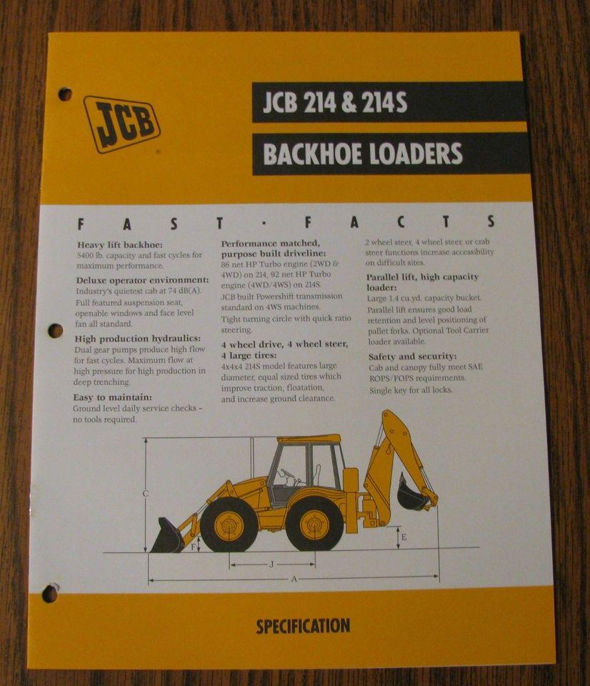 jcb 214 214s backhoe loader tractor spec sheet brochure literature
