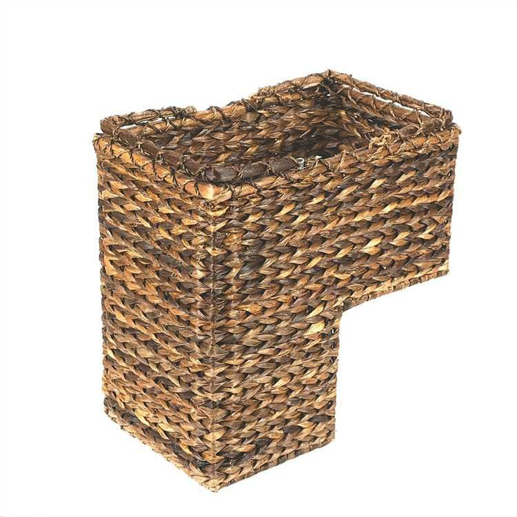 BacBac Leaf Woven Stair Basket With Handles Country Home Storage Decor