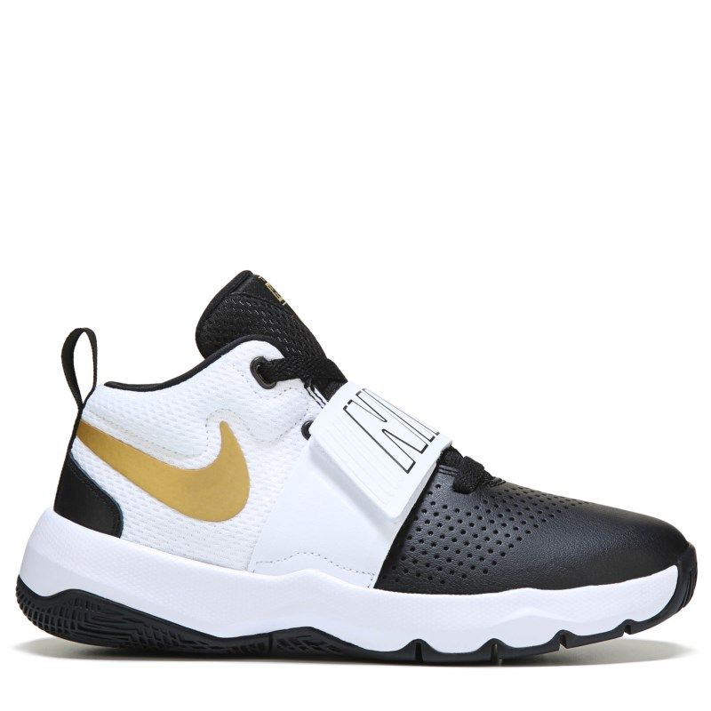 Nike Kids  Team Hustle D8 Basketball Shoe Grade School Shoes (Black Silver  Gold) 4a003d4f0
