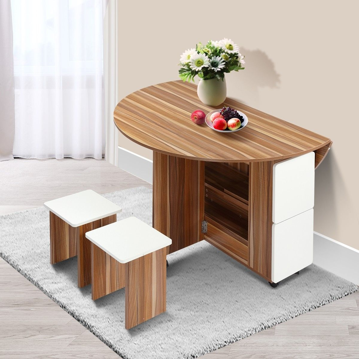 Wooden Folding Dining Table And 4 Chairs Set Round Table With Wheels Wooden Dining Table Set Foldable Dining Table Round Dining Room Table Folding dining table with chairs