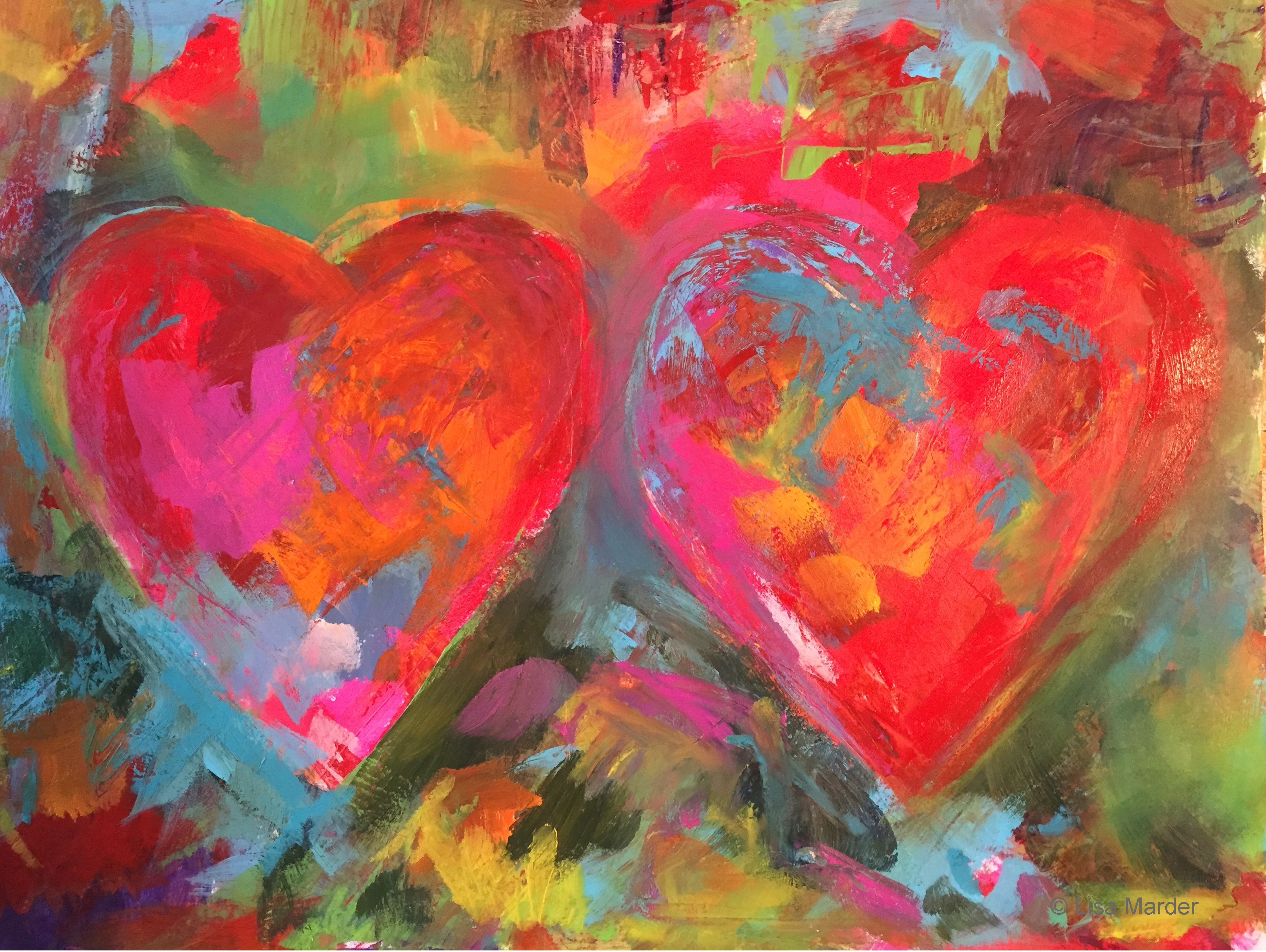 Paint Abstract Hearts In The Style Of Jim Dine With