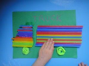 truck craft, car craft, preschool craft, toddler craft, drinking straw craft, transportation crafts, homeschool preschool