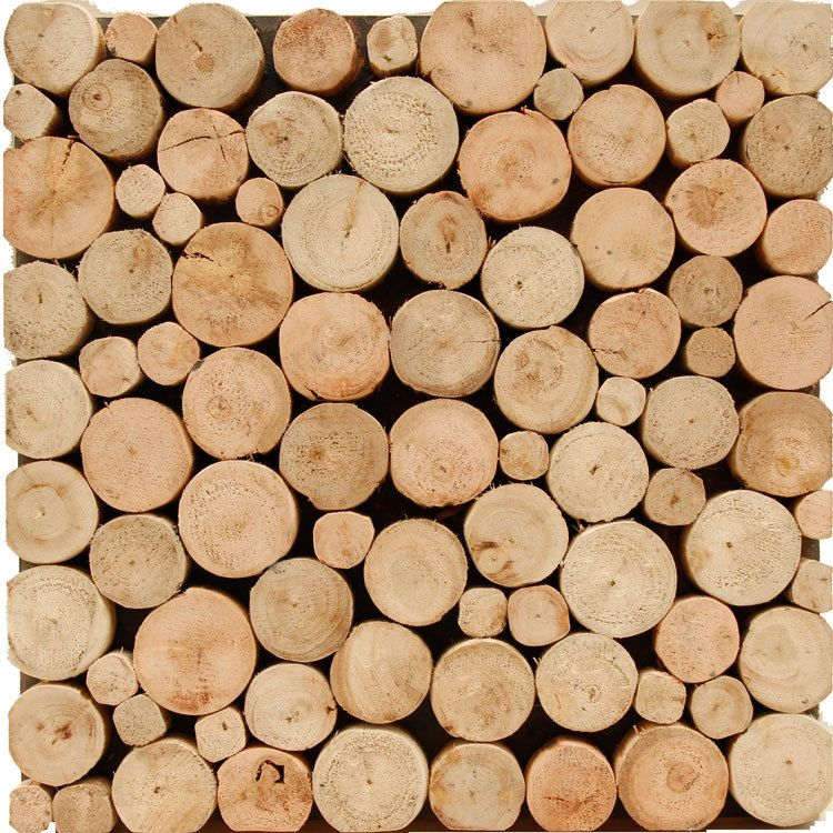 Eucalyptus small round wood wooden wmm0003 backsplash tile for Bedroom tiles texture