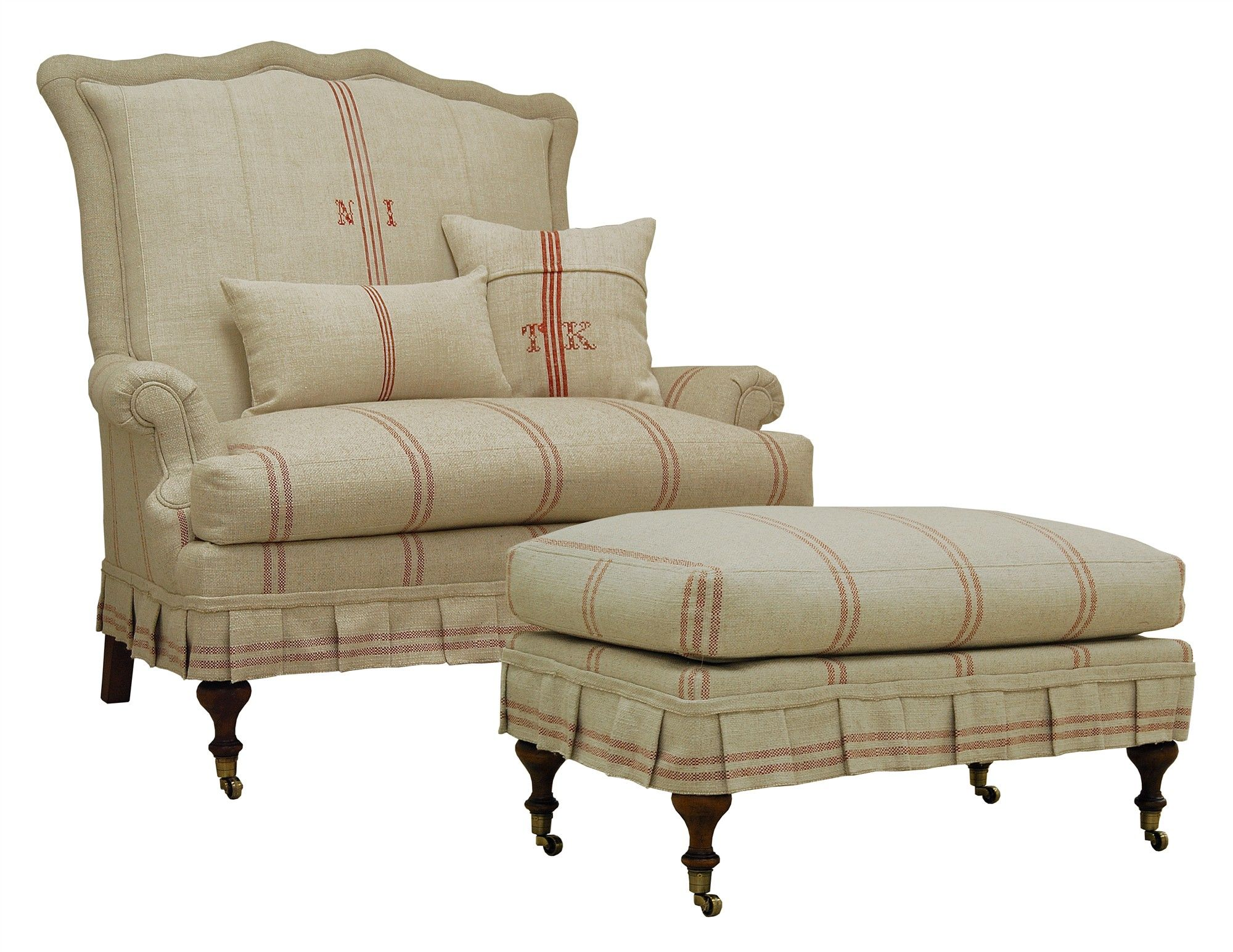 Jeffrey Zimmerman Furniture | The Jeff Zimmerman Collection Lambert Tight  Back Settee W Ottoman (kcf
