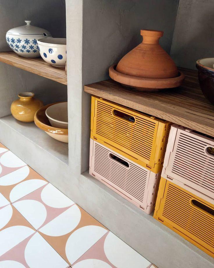 Orange & Pink Retro Kitchen Floor Tiles   MOSAIC FACTORY ...