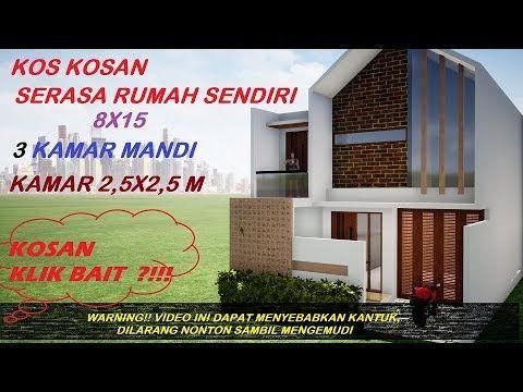 ep 54 desain rumah kos kosan minimalis lahan 8x15 ukuran