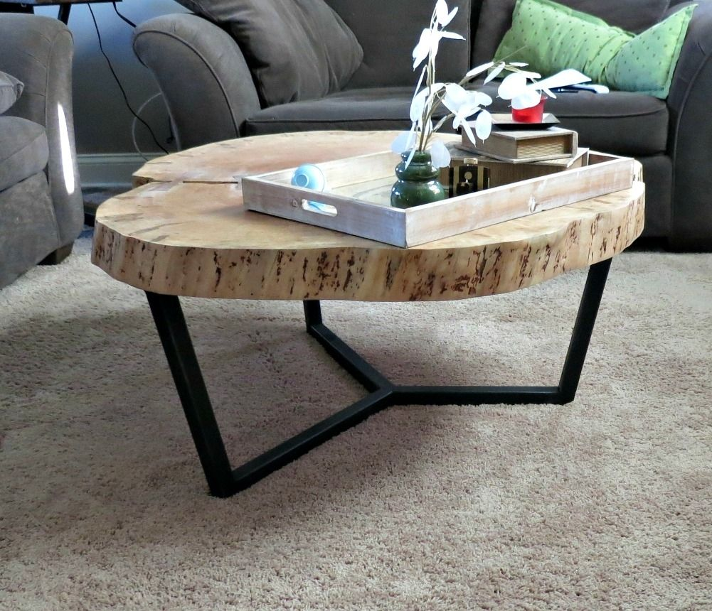 Simple And Beautiful This Live Edge Round Maple Tape With A Steel Base Adds The Right About Of Rustic Chic T Coffee Table Coffee Table Wood Custom Coffee Table