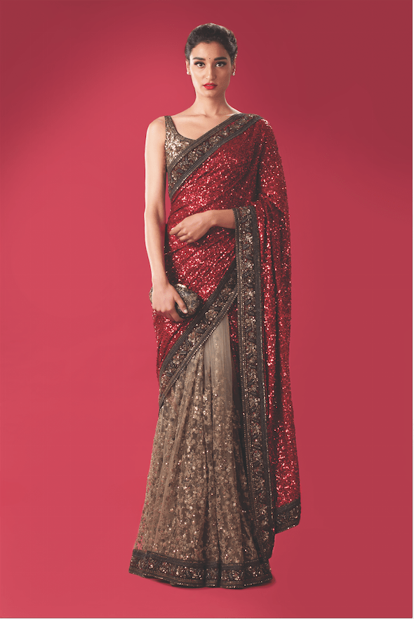 e5ab2c1abbc90 Beautiful red brown glitter Sabyasachi saree. Click on image to know price.   Frugal2Fab