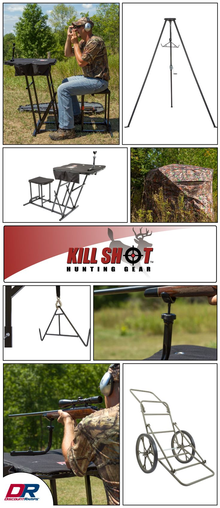 Deer hoists hunting blinds game carts meat processing