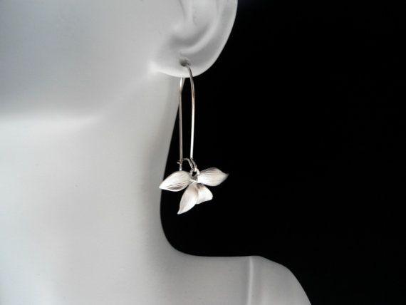 Longer flower earrings long wild flower earrings by ShikDesigns