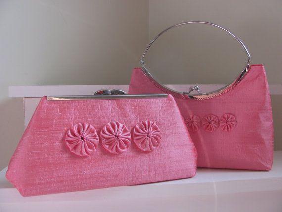 Floral pink  clutch/ pink theme wedding  purse/  by jemdesign567
