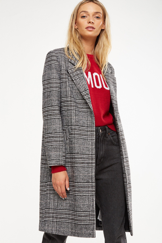 Cotton On Women Mid Length Coat Black Check Womenscoats Coats Womensfashion This Is An Affiliatelink Coats Jackets Women Coat Coats For Women [ 2880 x 1920 Pixel ]