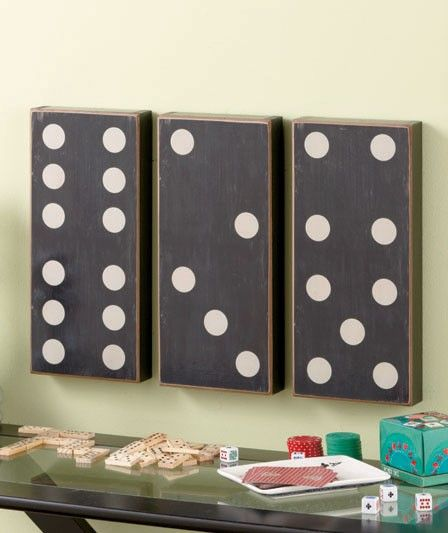 Game Room Wall Art 3 pc country dominoes wall art set game room decor black & tan new