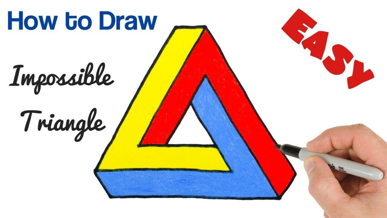 How To Draw Impossible Triangle Penrose Optical Illusion Drawing