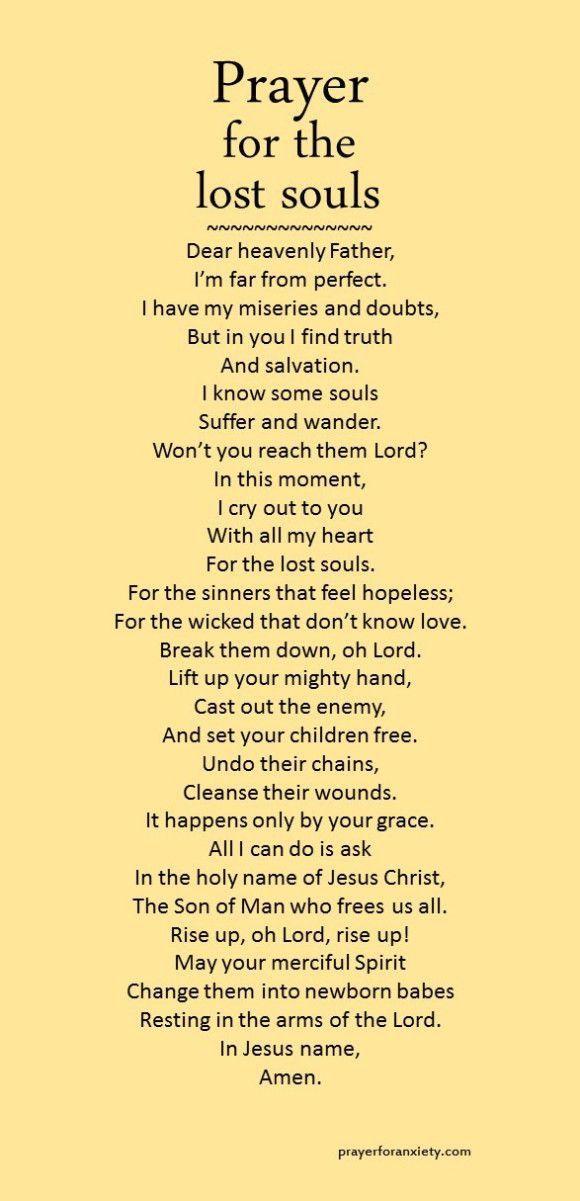 Prayer For Lost Souls Prayers Inspirational Prayers Prayer