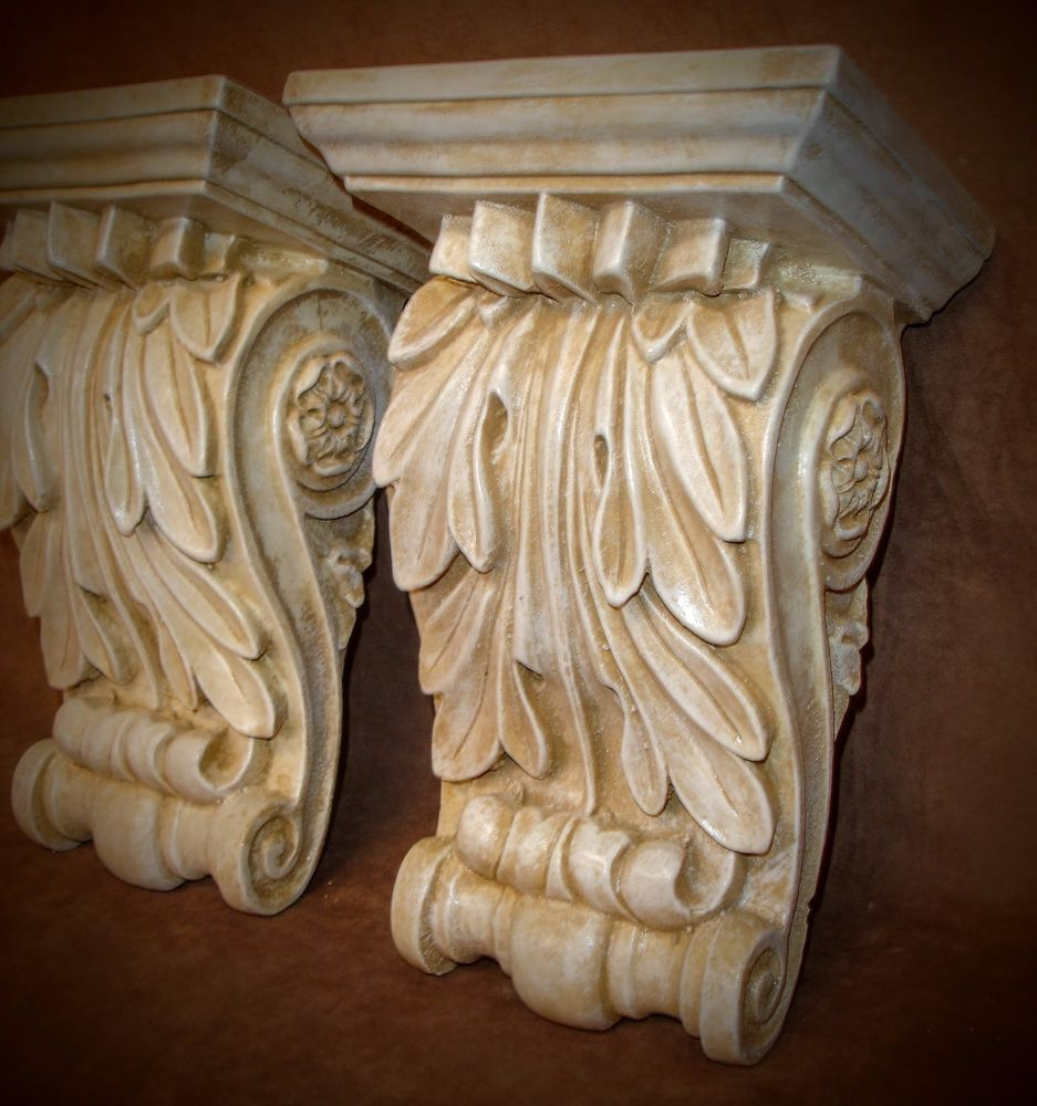 Classic Acanthus leaf Wall Corbel Sconce Bracket Pair