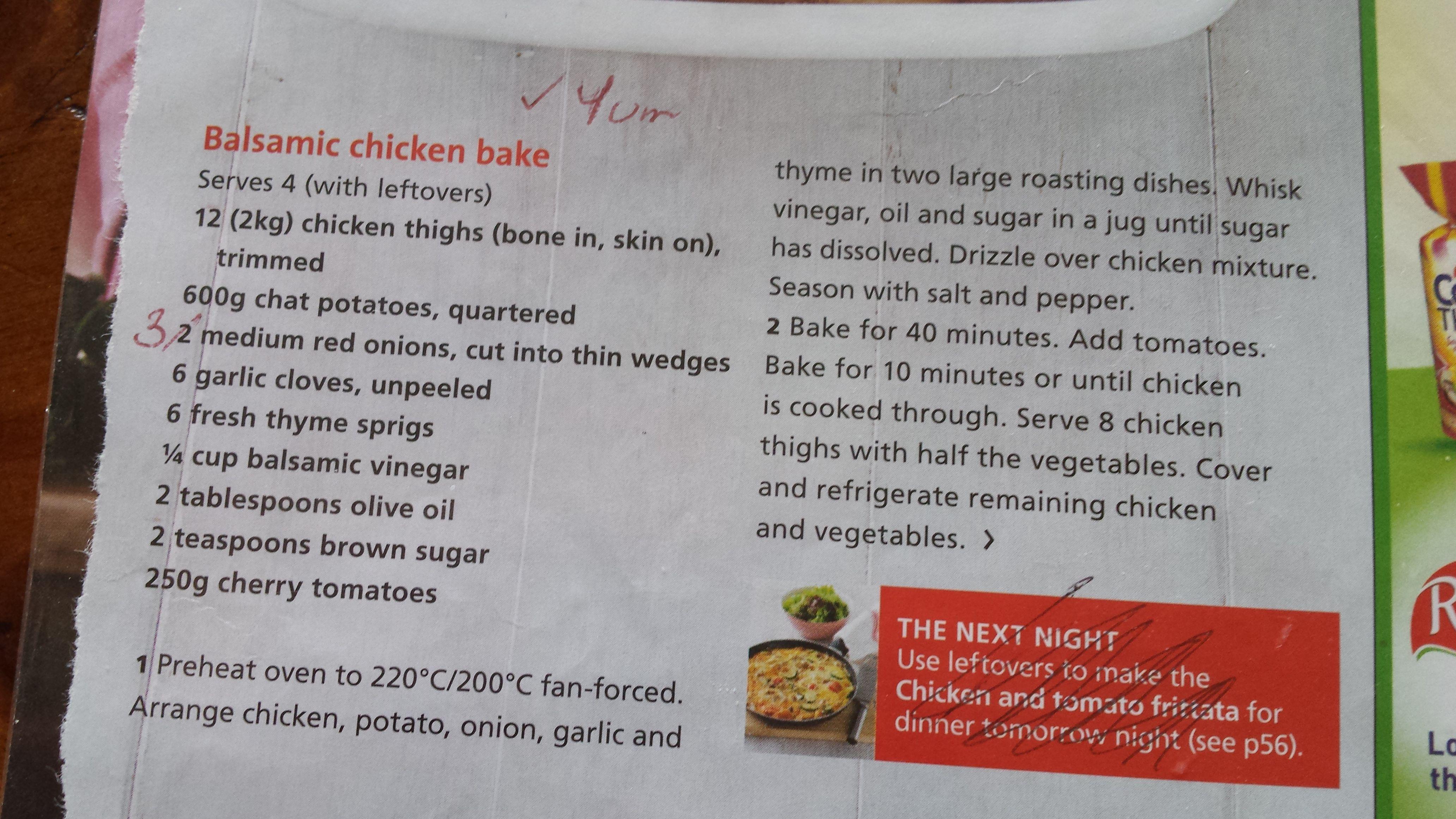 Chicken Balsamic recipe from Al