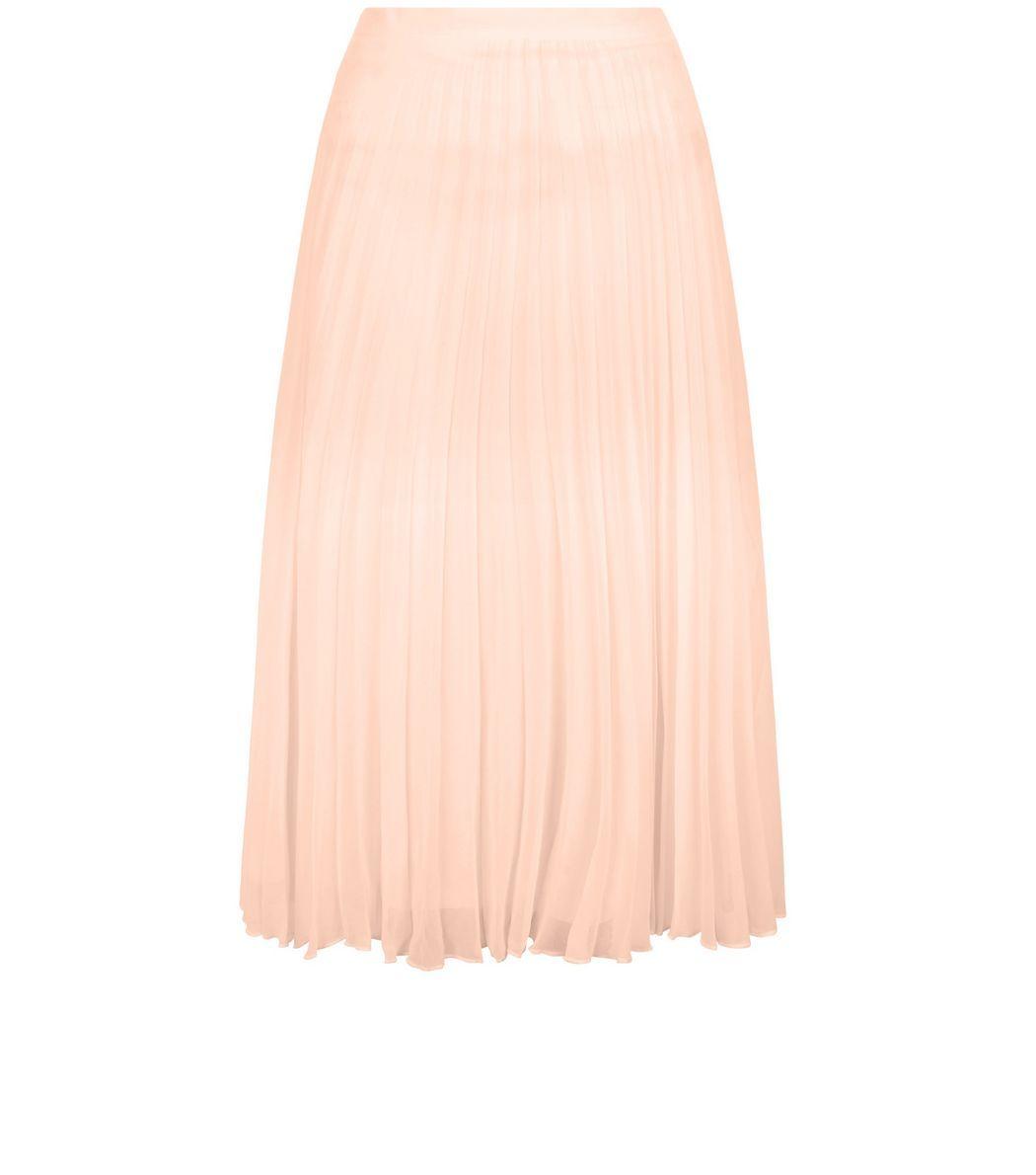 Shell Pink Chiffon Pleated Midi Skirt | Pleated midi skirt ...