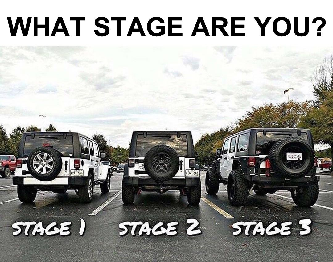 What Stage Are You Jeep Jeepwrangler Dream Cars Jeep Jeep Memes Jeep Jl