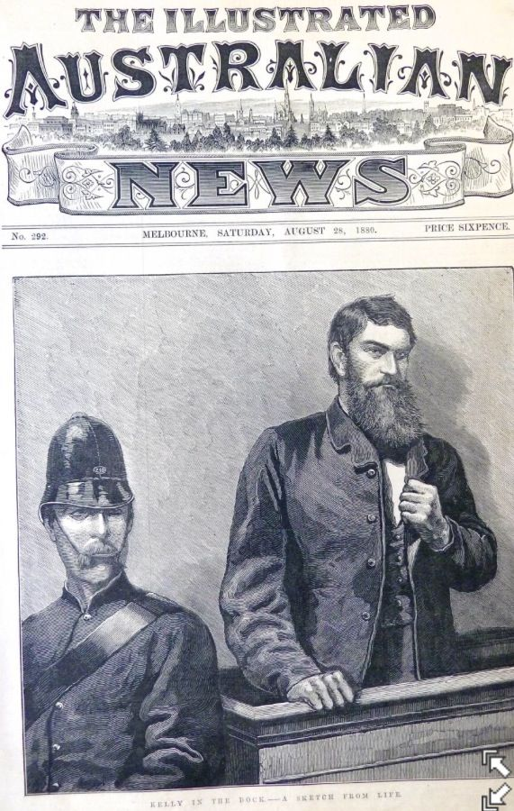 Ned Kelly in the Beechworth Court House in 1880