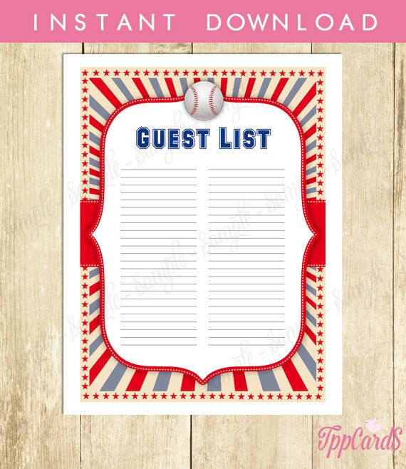 Baseball Baby Shower Guest List Baseball Baby Shower List Baby – Printable Baby Shower Guest List
