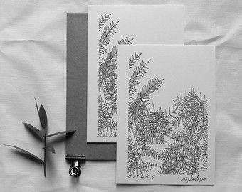 Nephrolepis - Carte postale illustrée - dessin à la main - tirage numéroté et limité ...