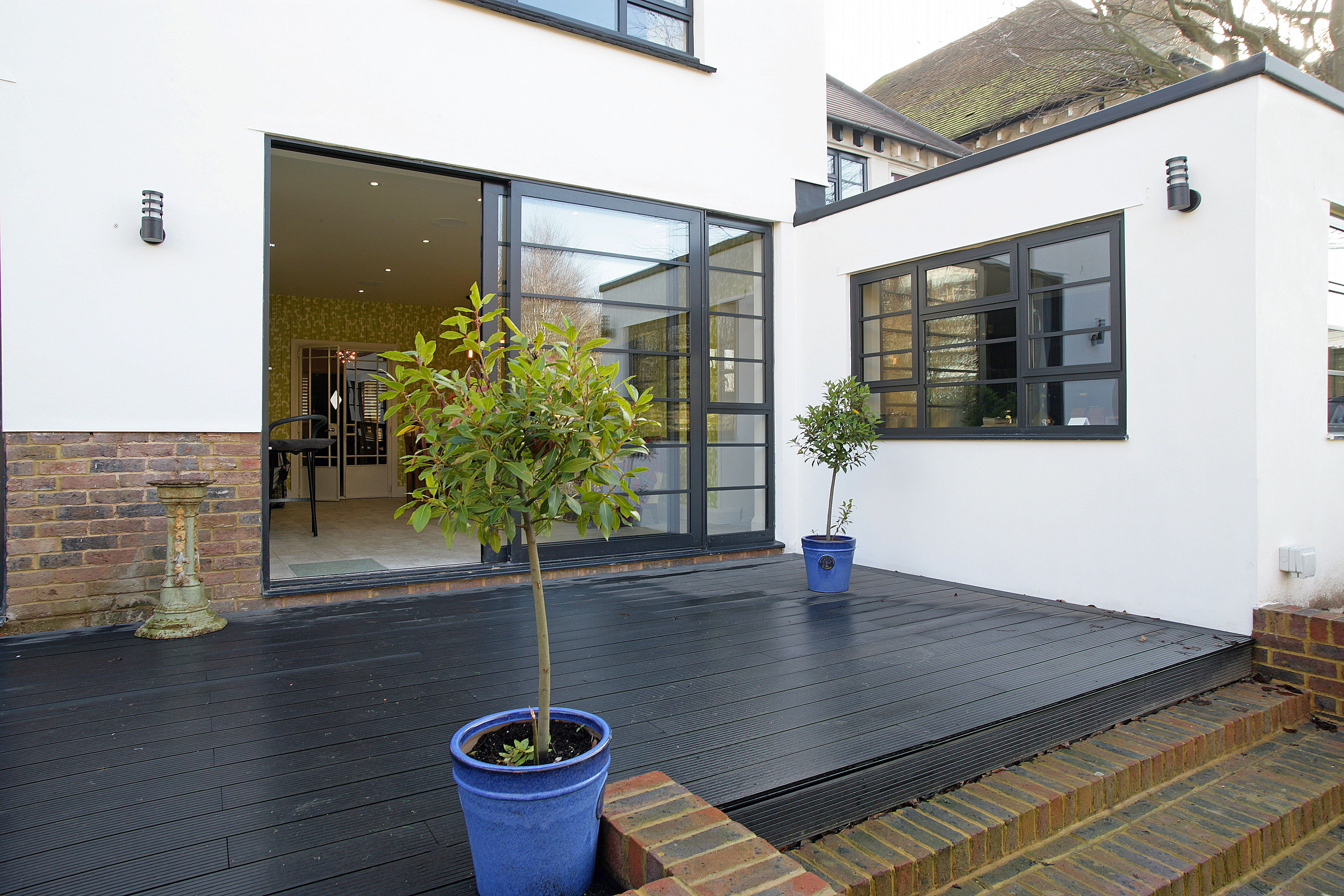 External Renovation Modernization To Traditional Property White Render Crittall Style Windows Ind Exterior House Remodel House Exterior Loft Conversion