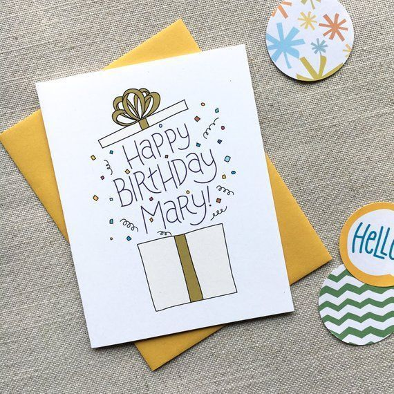 Custom Birthday Card Illustrated Birthday Present Hand Lettered Birthday Greeting Birthday Cards For Friends Birthday Cards For Her Birthday Greeting Cards