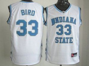competitive price c5426 7ee91 NCAA Indiana State White Sycamores #33 Larry Bird Jersey ...