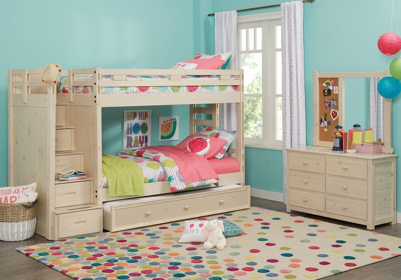 Creekside Stone Wash Twin Twin Step Bunk Bed Rooms To Go Girls Bunk Beds Bunk Beds Loft Bunk Beds