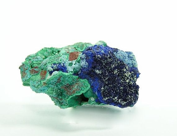 Azurite Malachite Crystalline Druzy and Black Tenorite in Raw