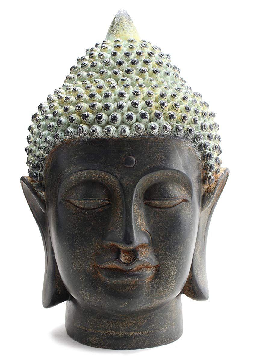 Smiling Meditating Buddha Shakyamuni Head Statue Statue Head Statue Buddha