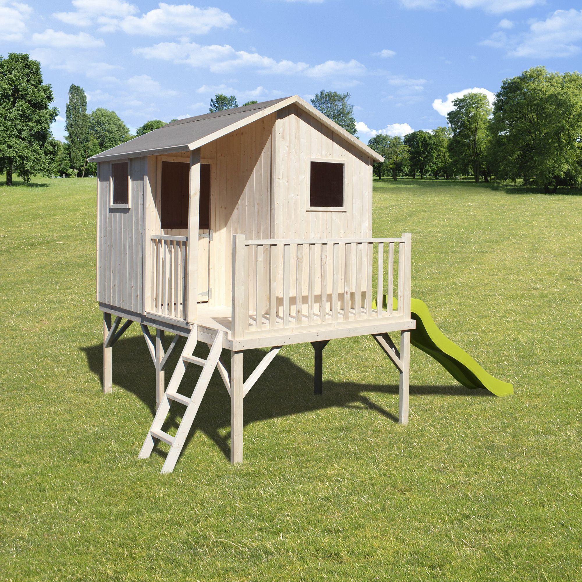 maisonnette en bois brut sur pilotis haut 0 90m pour. Black Bedroom Furniture Sets. Home Design Ideas