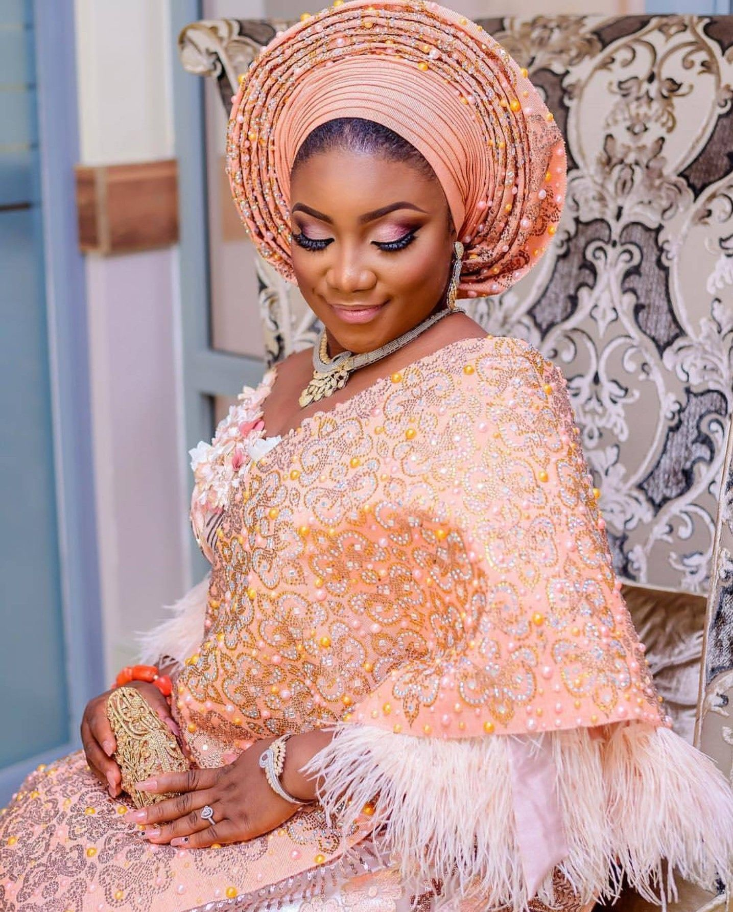 Traditional nigerian wedding dresses  Pin by Mercy Kumordzi on mecrkup  Pinterest  Nigerian bride