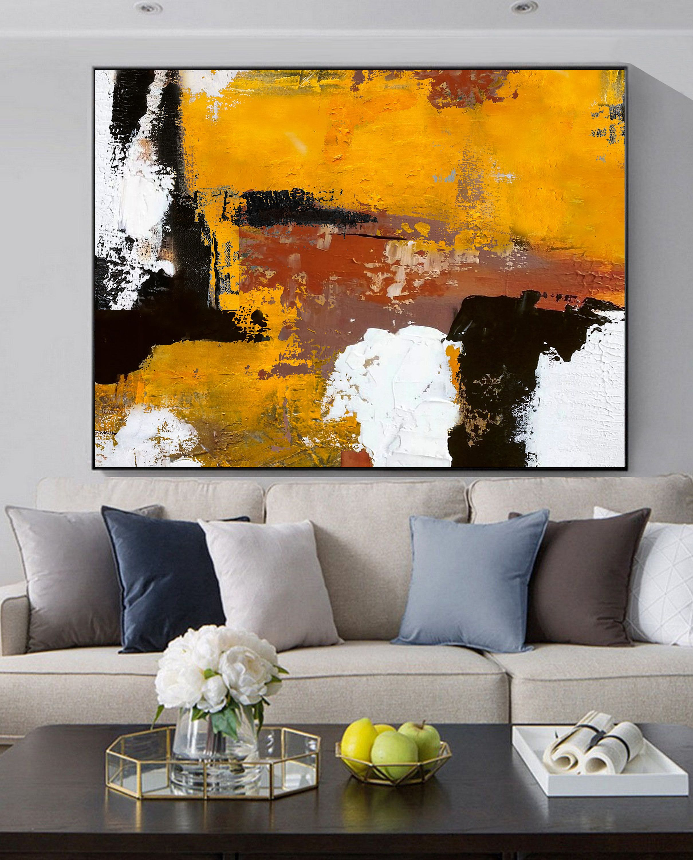 Etsy Shop Original Burnt Orange Abstract Painting Black White Abstract On Canvas Painting Wall Canvas Painting Abstract Art Painting Abstract Canvas Painting #oil #painting #living #room