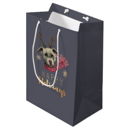 Christmas Reindeer Pit Bull with Faux Gold Fonts Medium Gift Bag