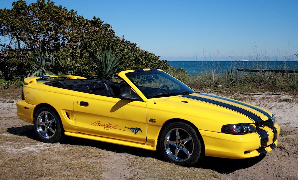 Yellow 1995 Ford Mustang Gt Convertible Mustangattitude Com Mobile Mustang Gt Mustang Yellow Mustang