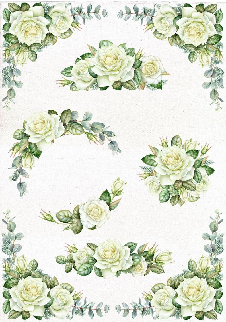 Watercolor Wedding Bouquets With White Roses And Eucalyptus Floral Christmas Corner Frame Wreath Individual Png Commercial Use Floral Wreath Watercolor Wreath Clip Art Rose Clipart