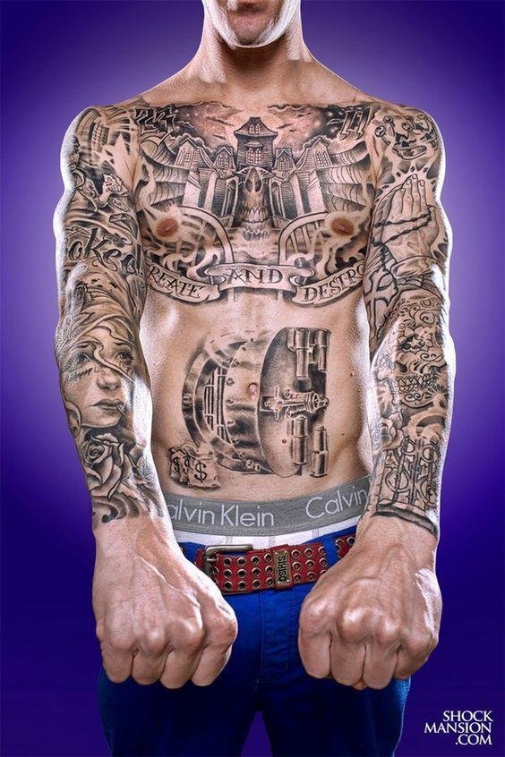Cool Full Sleeve Tattoo Ideas Chest Piece Tattoos Torso Tattoos Sleeve Tattoos