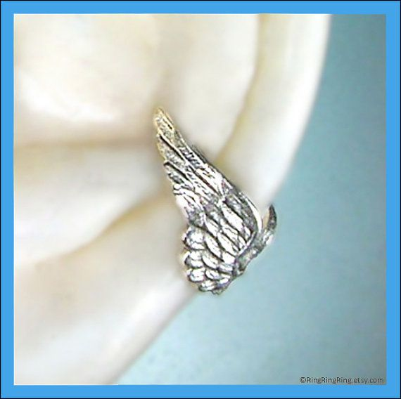 Angel wing silver ear cuff earring jewelry Tiny by RingRingRing, $35.00