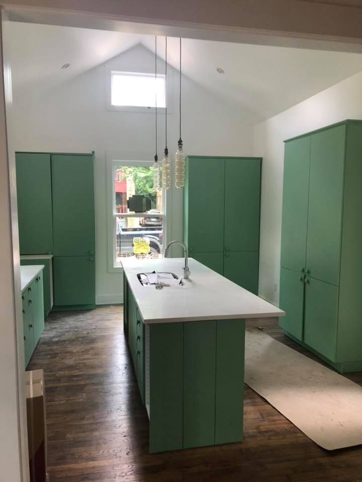 vaulted ceilings with custom green cabinets in fort worth tx kitchen remodel green kitchen on kitchen cabinets vaulted ceiling id=52481