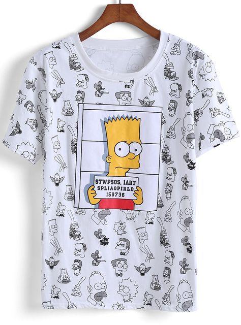 camiseta Simpson-blanco 8.54 ae0aa92c0c8a1