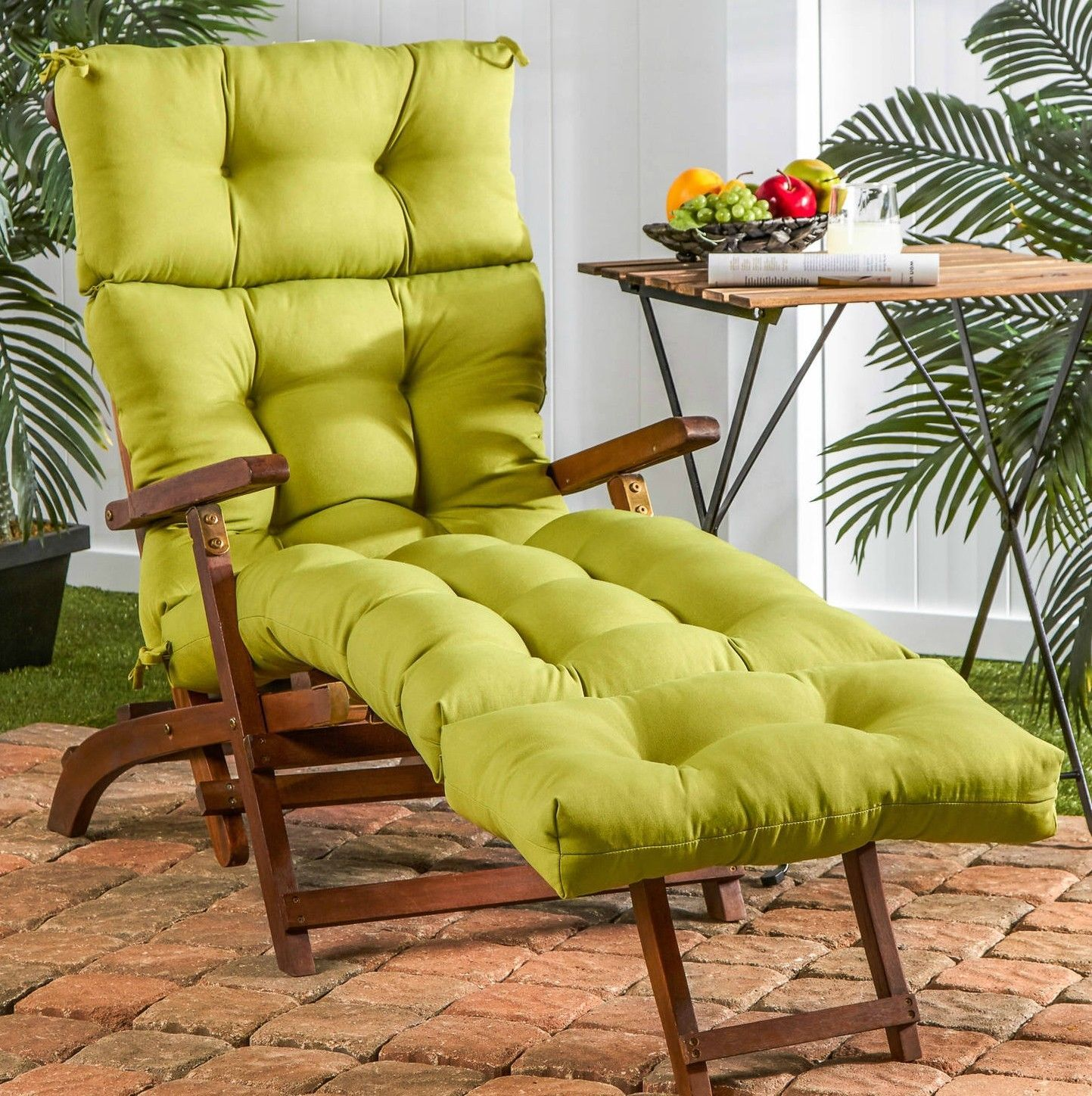 Green Chaise Lounge Cushion Tufted Pool Overstuffed Outdoor Replacement Pillow Ebay Chaise Lounge Cushions Green Chaise Lounge Chaise Lounge